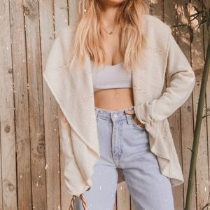 Anthro knitted knitted beige open draped cardigan